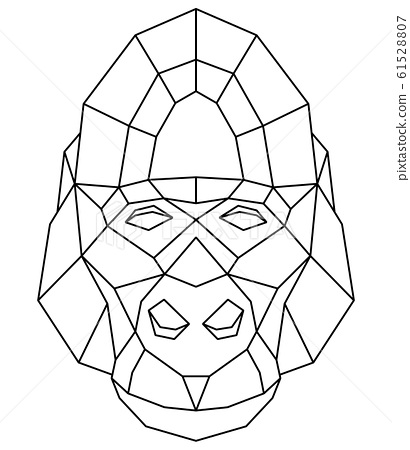 Abstract polygonal head of gorilla. Geometric illustration. Vector 61528807
