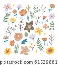 Floral bouquet of hand drawn fantasy folk flowers. 61529861
