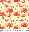 Watercolor red poppies. Seamless patterns. Wild flower set isolated on white. Botanical watercolor illustration, red poppies bouquet, rustic poppy flowers. 61530186