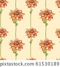 Watercolor orange dahlias. Seamless patterns. Wild flower set isolated on white. Botanical watercolor illustration, orange dahlias bouquet, rustic dahlias flowers. 61530189