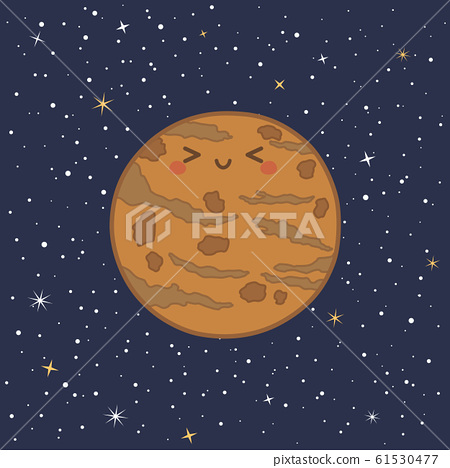 Cute Planet Mercury Solar System Vector 61530477