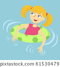 Girl Floating in Swimming Pool Cartoon Vector 61530479