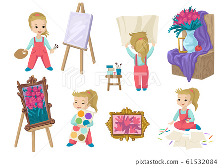 A set of painting objects. Girl in different poses, easel and still life. 61532084
