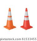 Red and orange realistic road plastic white striped shiny cones. 61533455