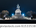 Night view of monumental equestrian statue of William I, the first German Emperor.,at German Corner, German: Deutsches Eck. Confluence of rivers Mosel and Rhine, Germany 61533538