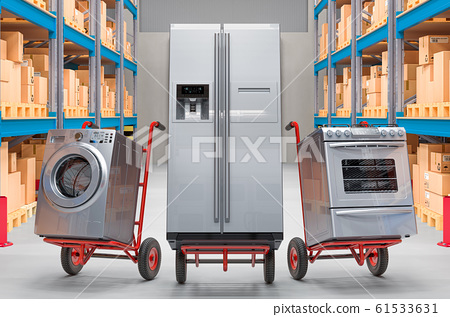 Hand trucks with household and kitchen appliances 61533631