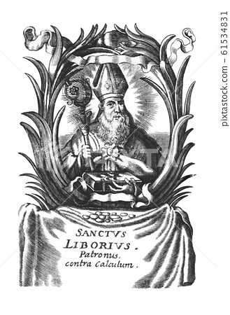 Vintage Antique Religious Allegorical Drawing or Engraving of Christian Holy Man Bishop Saint Liborius of Le Mans 61534831