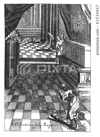 Vintage Antique Religious Drawing or Engraving of Praying Woman Sinner Walking on Thorns to Confession and to Pray at Altar in Church. 61534857