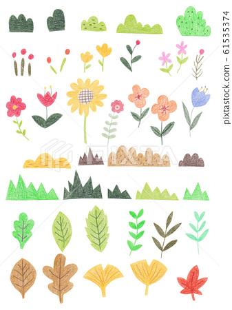색연필 일러스트 - 다양한 식물 61535374