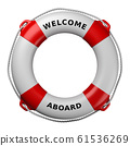 Welcome Aboard Lifebuoy Isolated on White 61536269