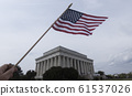 Lincoln Memorial and USA Flag. Photo 61537026
