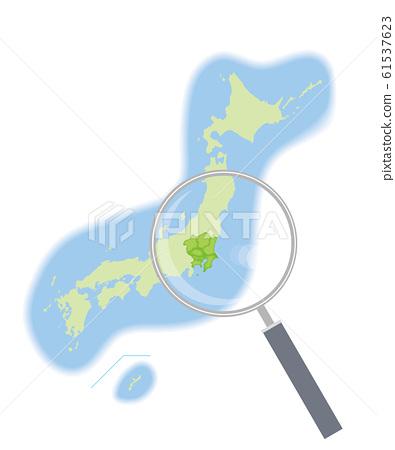 돋보기와 지방 다른 일본지도 반 입체 일러스트 관동 지방 | 47 도도부 현별 데이터 : 그래픽 소재 61537623