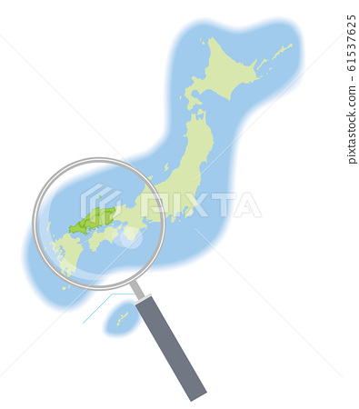 Magnifying glass and semi-solid illustration of Japan map by region @ Chugoku region | 47 prefectures: Graphic material 61537625