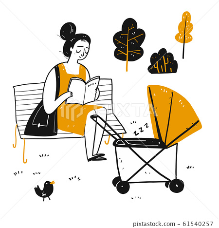 The drawing character a novice mother is reading 61540257