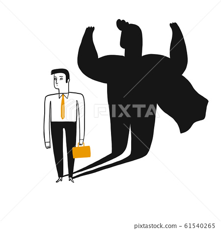 Concept illustration of a business man revealed as 61540265