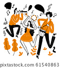 Hand drawing the musicians playing music. 61540863