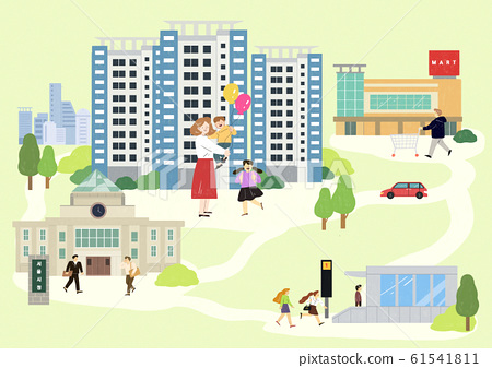Happy family with house, pleasant residential environment concept illustration 002 61541811