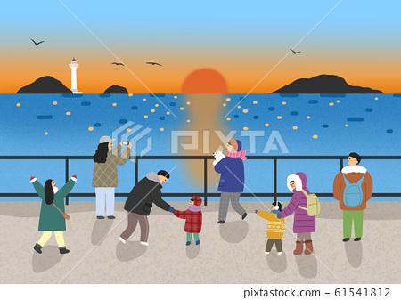 Urban winter landscape with people illustration 003 61541812