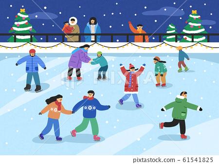 Urban winter landscape with people illustration 010 61541825