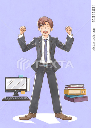 self-contentment concept, a happy successful man who has achieved a goal illustration 002 61541834