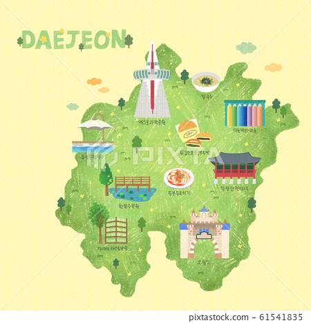 South Korea's landmark map illustration 004 61541835