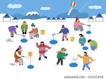 Urban winter landscape with people illustration 002 61541856