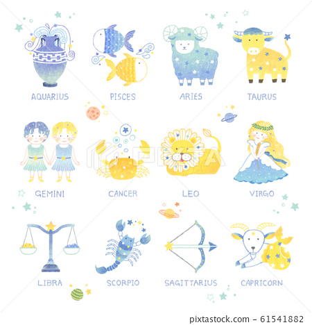 Set of the sign of the zodiac and the 12 oriental zodiac animals illustration 001 61541882