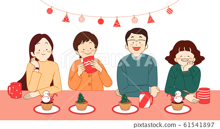 happy family having a Christmas together illustration 006 61541897