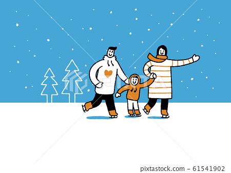 Winter family, enjoy the winter season together illustration 006 61541902