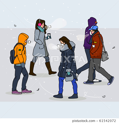 Wintertime concept, ways to stay warm or fight the winter cold illustration 010 61542072