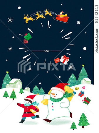 Merry Christmas greeting card template illustration 012 61542115