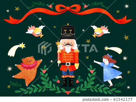 Merry Christmas greeting card template illustration 010 61542177
