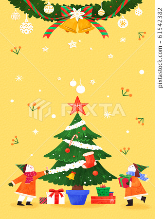 Merry Christmas greeting card template illustration 008 61542382