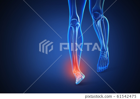 3d rendering of a human body with highlighted in pain 005 61542475