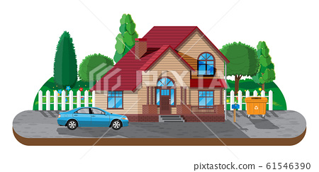 Suburban family house. Countryside wooden house 61546390