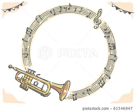 小號和樂譜,音符框架材料 61546947