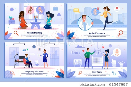 Pregnant Woman Active Life, Career Vector Posters 61547997