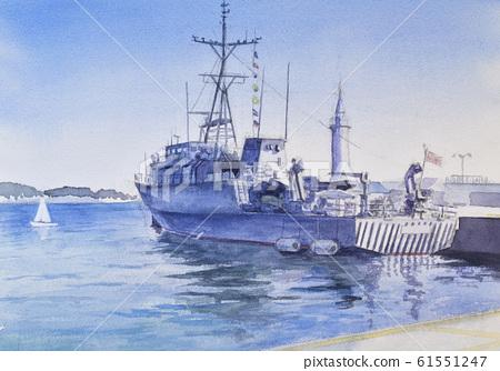 Enoshima pier watercolor 61551247