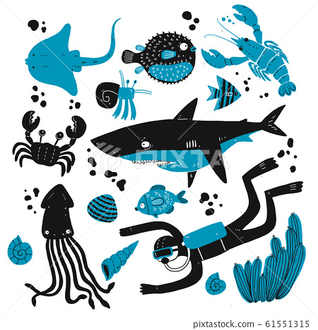 Set of deep sea creatures sketches. 61551315