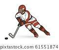 Ice Hockey player action cartoon sport graphic vector 61551874