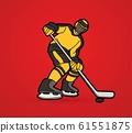 Ice Hockey player action cartoon sport graphic vector 61551875