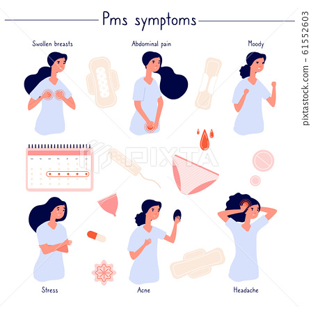 PMS symptoms. Female stress, abdominal pain, acne and moody. Woman period problems. Isolated menstrual syndrome, panty and pads vector set 61552603