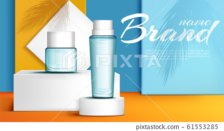 Summer line perfume ad banner realistic 61553285