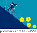 Business men ride bicycle on the coins that fall. 61554558