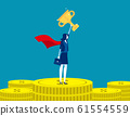 Leader woman stand on gold coins. Concept business 61554559