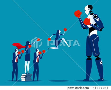 Human team fighting Artificial Intelligence. 61554561
