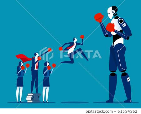 Human team fighting Artificial Intelligence. 61554562