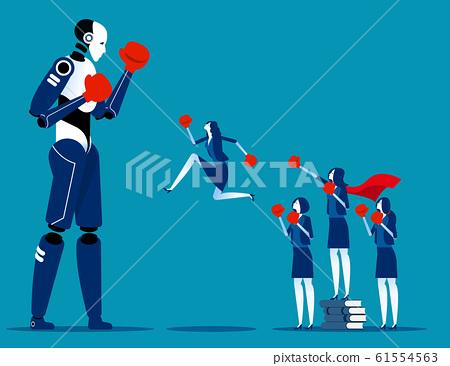 Human team fighting Artificial Intelligence. 61554563