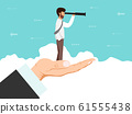 Businessman looking through spyglass stands on big hand. Hand holding man with spy glass who looks for new opportunity for business vector illustration 61555438