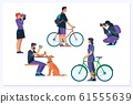Crowd of people performing summer outdoor activities.Flat illustration 61555639